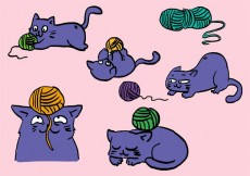 Free vector Cat With Ball Of Yarn Set #14903