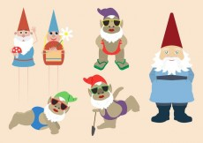 Free vector Colorful Gnome and Elves Collection #15089