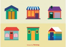 Free vector Colourful Houses Icons #16203