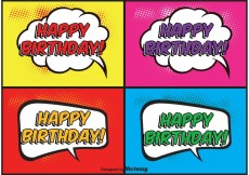 Free vector Comic Style Birthday Labels #19251