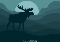 Free vector Vector Moose On Rolling Hills #12470
