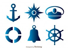 Free vector Nautical Blue Icons #18601