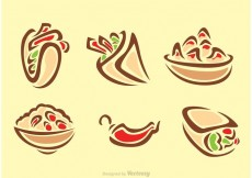 Free vector Stylish Mexican Food Icons #16149