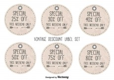 Free vector Vintage Style Discount Labels #12432