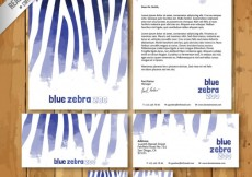 Free vector Watercolor blue zebra stationery #18659