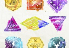 Free vector Watercolor hipster badges #13764