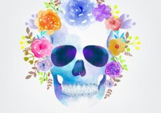 Free vector Watercolor skull with flowers #14936