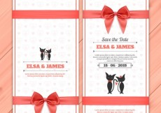 Free vector Wedding invitation with cute cats #13638