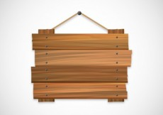Free vector Wood sign hanging on a rope #18095