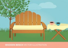 Free vector Wooden Bench Vector Illustration #18826