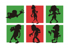 Free vector Zombie Cartoon Silhouettes Vectors Pack 2 Free #14816