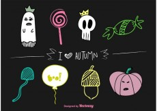 Free vector Autumn Halloween Vector Doodles #23024