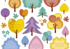 Free vector Autumn trees labels #26569