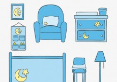 Free vector baby room furniture #25004