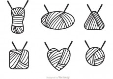 Free vector Ball Of Yarn Outline Icons Vector #23078