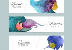 Free vector Beauty banners in watercolor style #21624