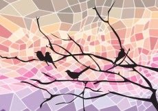 Free vector Bird on Tree Branch Abstract #24345