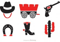 Free vector Black And Red Wild West Icons Vectors #21295