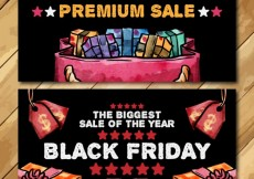 Free vector Black friday banners in watercolor style #27465
