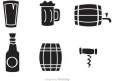 Free vector Black Whiskey Icons Vector #22127