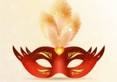 Free vector Bright carnival mask in red and gold tones #21389