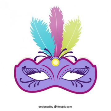 Free vector Bright carnival mask with feathers #21762