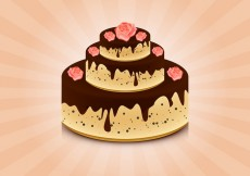 Free vector Cake with roses vector background #24207