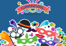 Free vector Carnival background with costume icons #21118