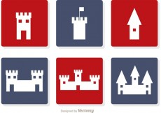 Free vector Castle White Icons Vector #27506