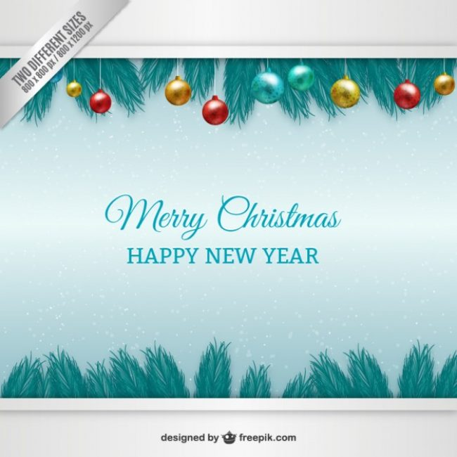 Free vector Christmas baubles card #27019