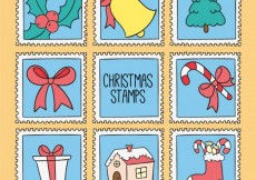 Free vector Christmas Stamps Set #24170