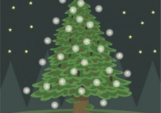 Free vector Christmas tree with lights #25365