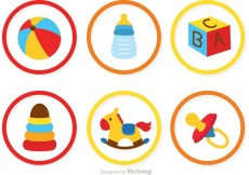 Free vector Collection Of Baby Toys Icons Vector #22375