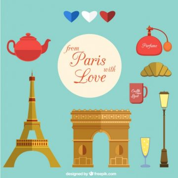 Free vector Collection of elements from Paris with love #20360