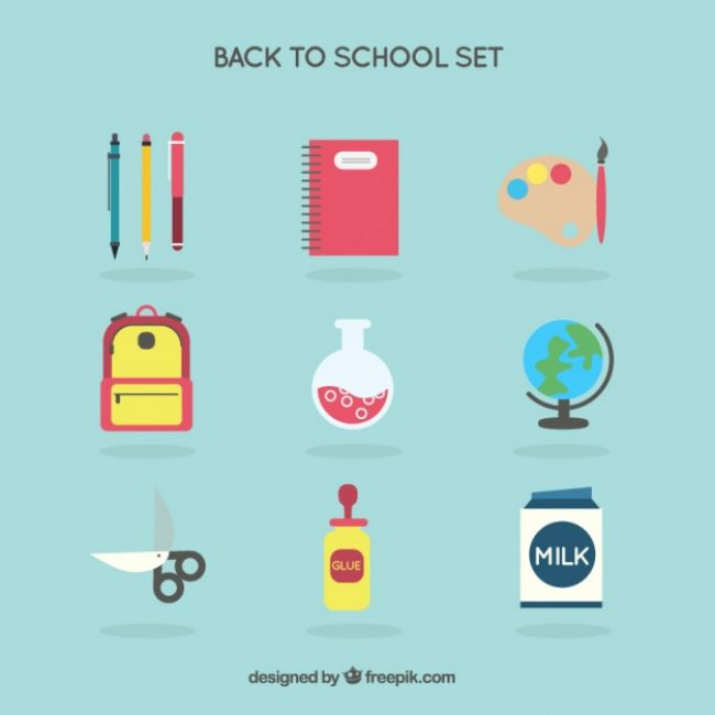 Free vector Colored back to school icons set #25705