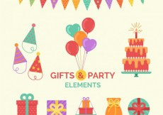 Free vector Colored gifts and party elements #25733