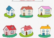 Free vector Colored hand drawn houses #24994