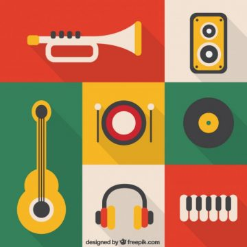 Free vector Colored music instrument icons #20376