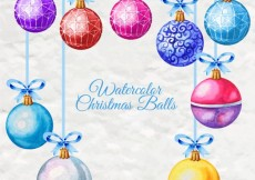 Free vector Colored watercolor christmas balls #26417