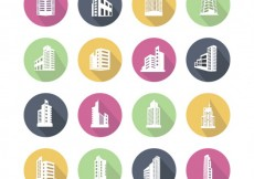 Free vector Colorful building icons #21816