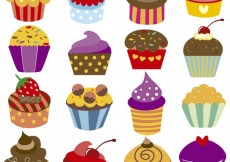 Free vector Colorful cupcakes collection #26673