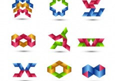 Free vector Colorful geometrical logo collection #25082