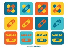 Free vector Colorful Kids Band Aid Icons #22709