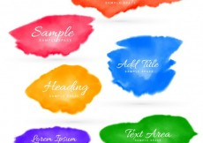 Free vector colorful set of watercolor stains  #27747