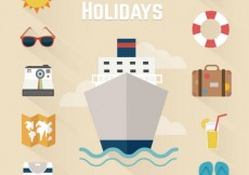 Free vector Cruise holidays icons  #22551