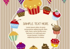 Free vector Cupcakes frame in colorful style #26709