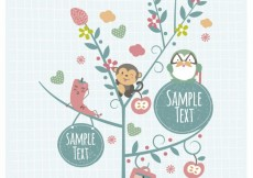 Free vector Cute animals on the tree with labels #27247