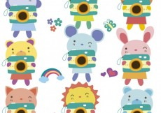 Free vector Cute animals with cameras #27329