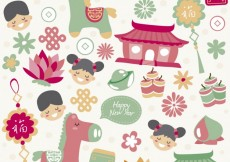 Free vector Cute chinese new year elements #26677