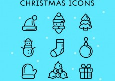 Free vector Cute christmas icons #24742